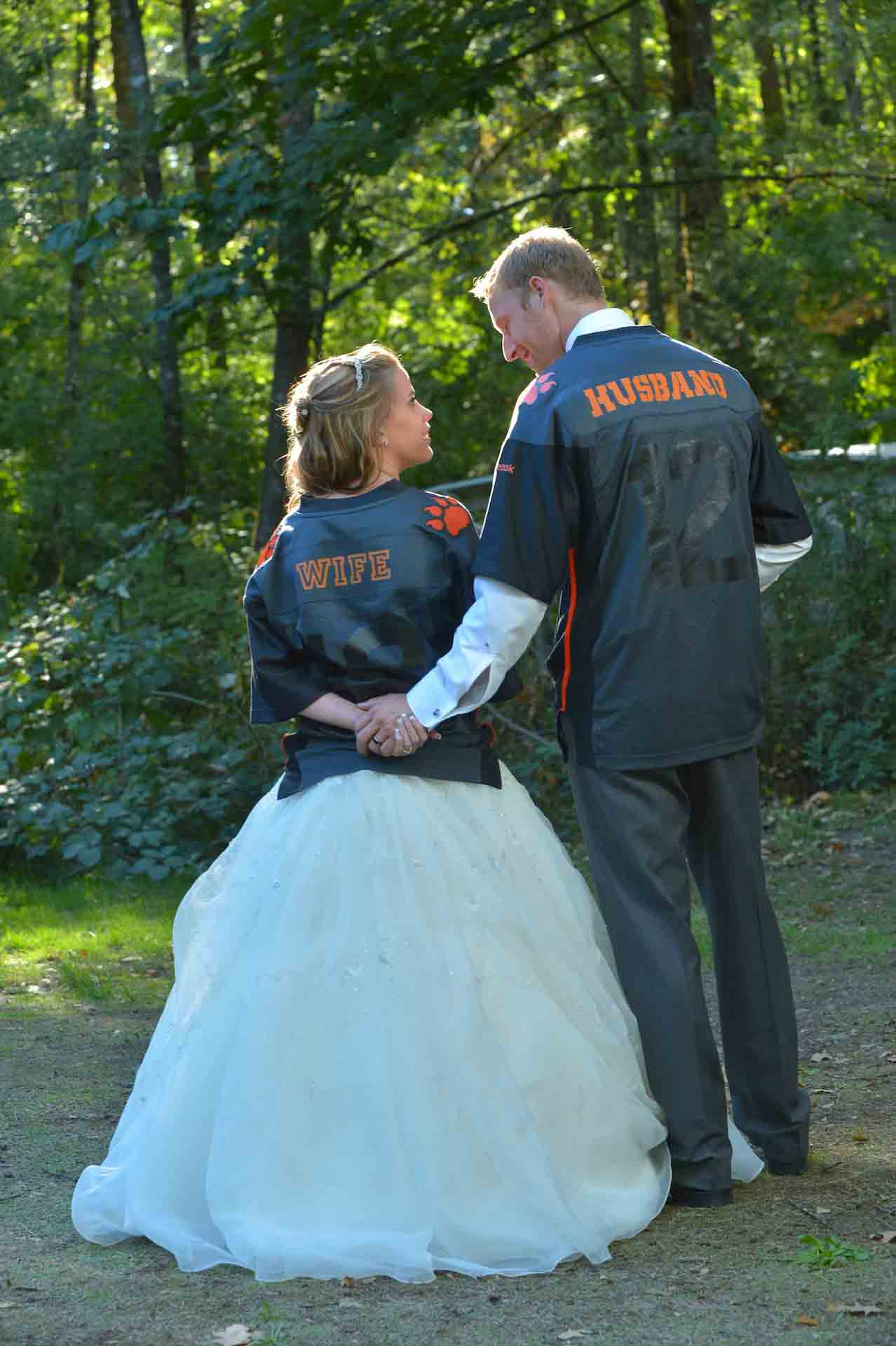 football wedding photo