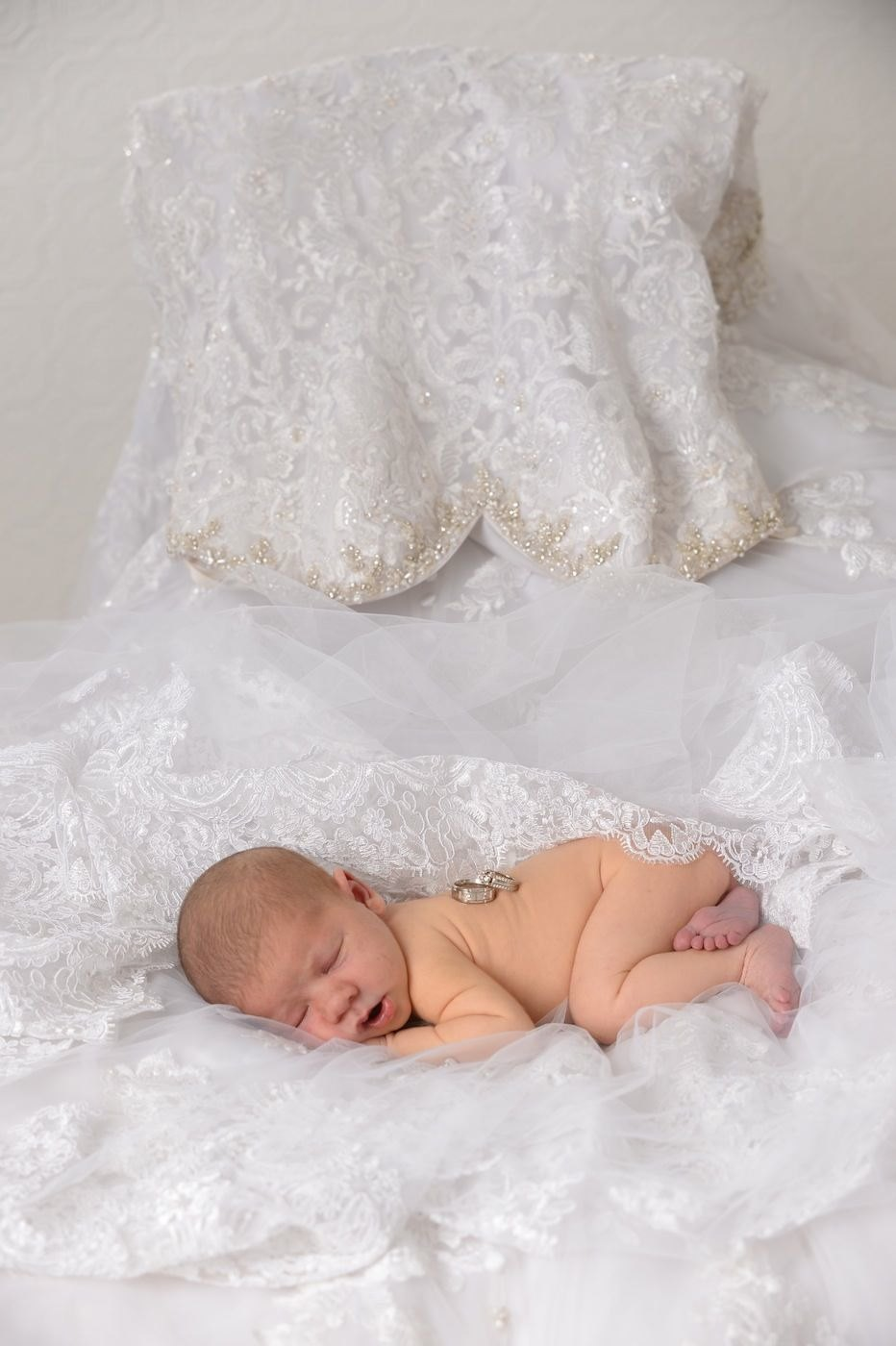 new baby with wedding dress