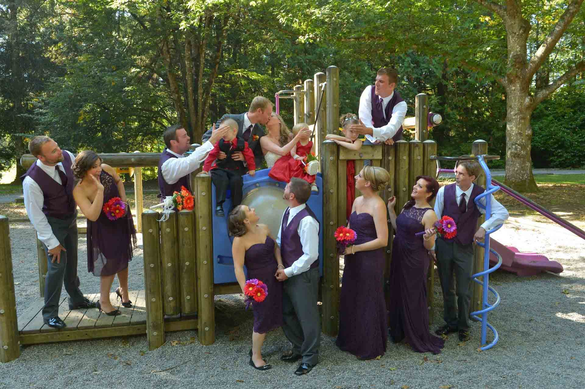 playground wedding photos
