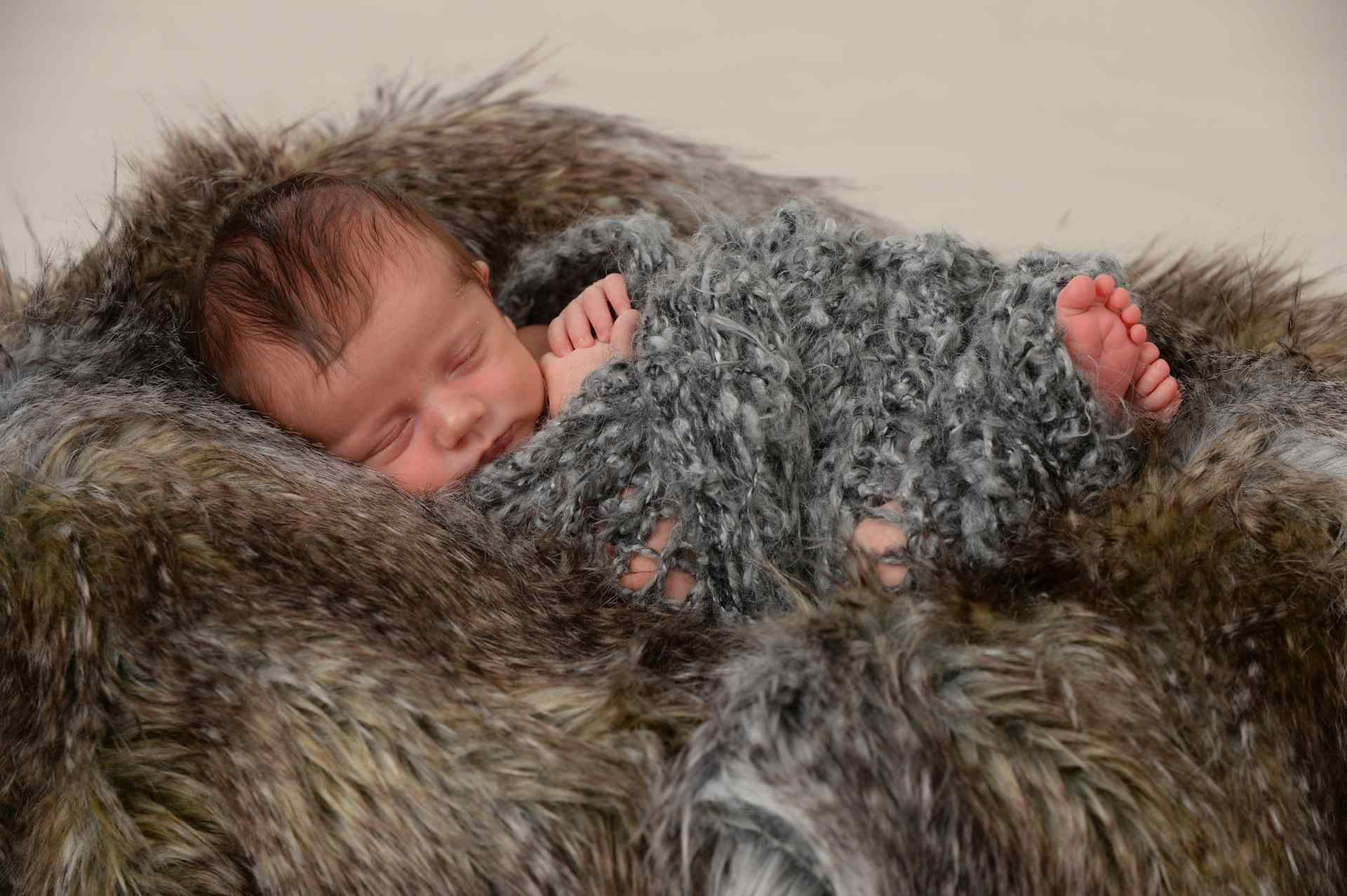 baby on fur